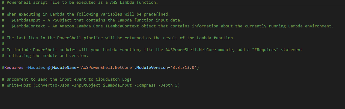 AWS PowerShell - Intro to PowerShell Lambdas, Creating An